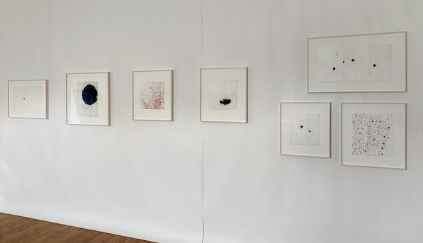 Anne Wilson Material Drawings on Studio Wall